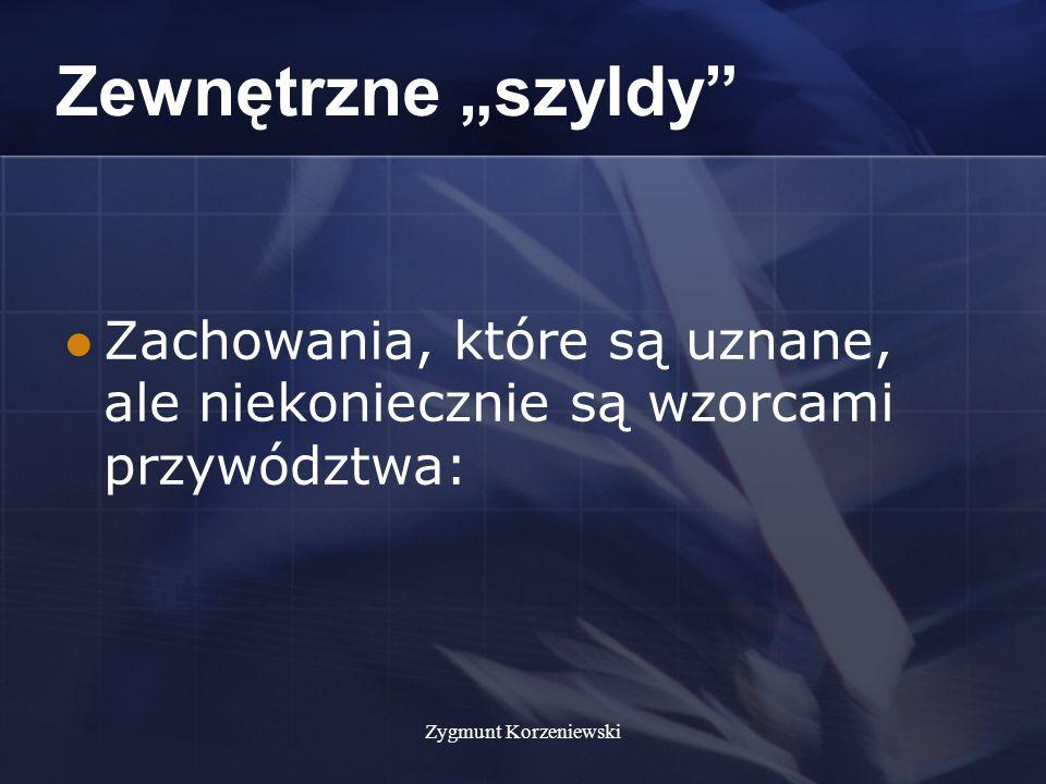 """Zygmunt Korzeniewski Zewnętrzne """"szyldy Zachowania, które są uznane, ale niekoniecznie są wzorcami przywództwa:"""