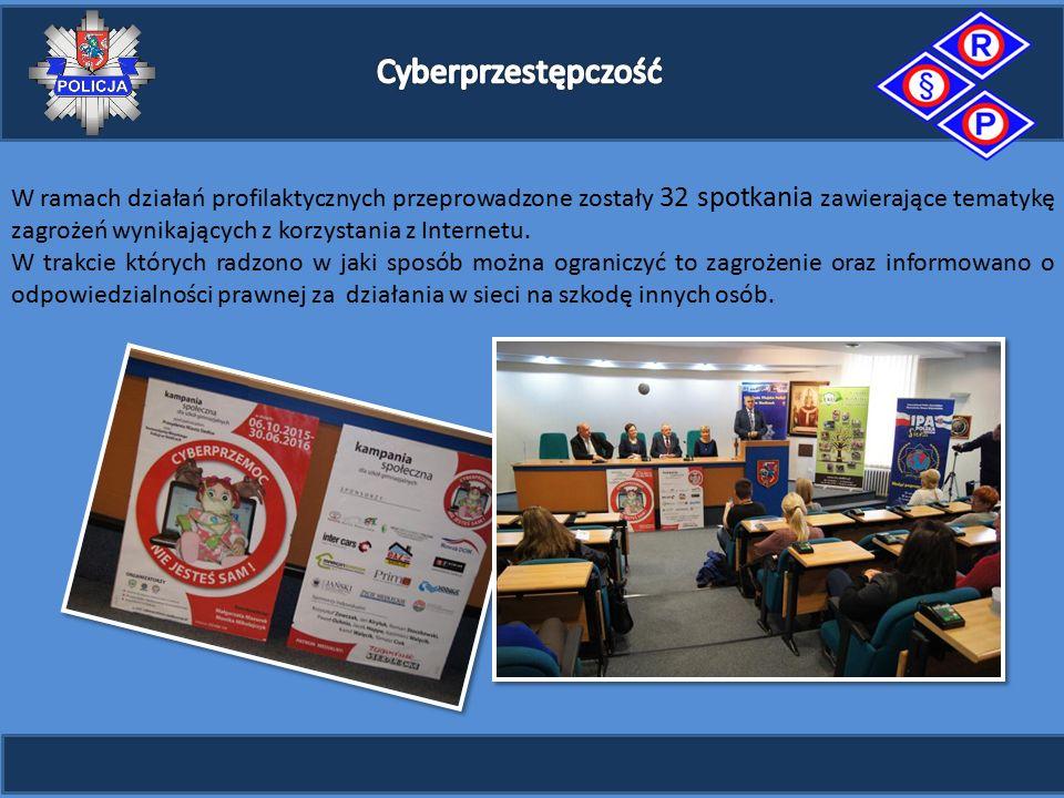W ramach działań profilaktycznych przeprowadzone zostały 32 spotkania zawierające tematykę zagrożeń wynikających z korzystania z Internetu.