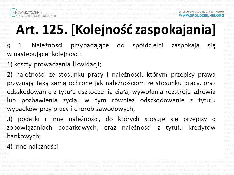 Art. 125. [Kolejność zaspokajania] § 1.