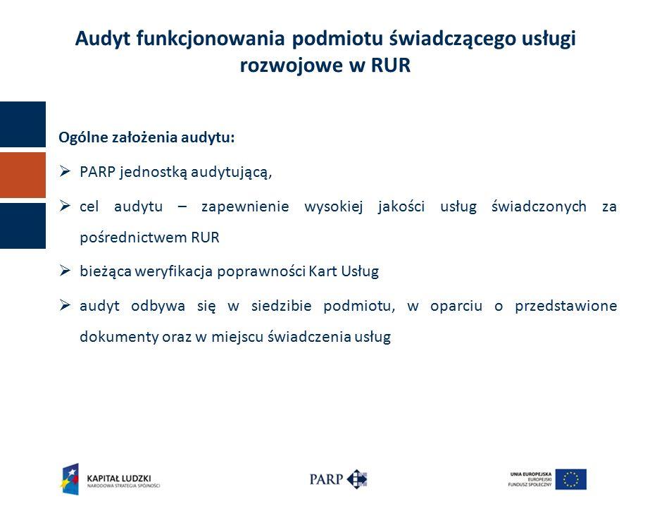 Ogólne założenia audytu:  PARP jednostką audytującą,  cel audytu – zapewnienie wysokiej jakości usług świadczonych za pośrednictwem RUR  bieżąca weryfikacja poprawności Kart Usług  audyt odbywa się w siedzibie podmiotu, w oparciu o przedstawione dokumenty oraz w miejscu świadczenia usług Audyt funkcjonowania podmiotu świadczącego usługi rozwojowe w RUR