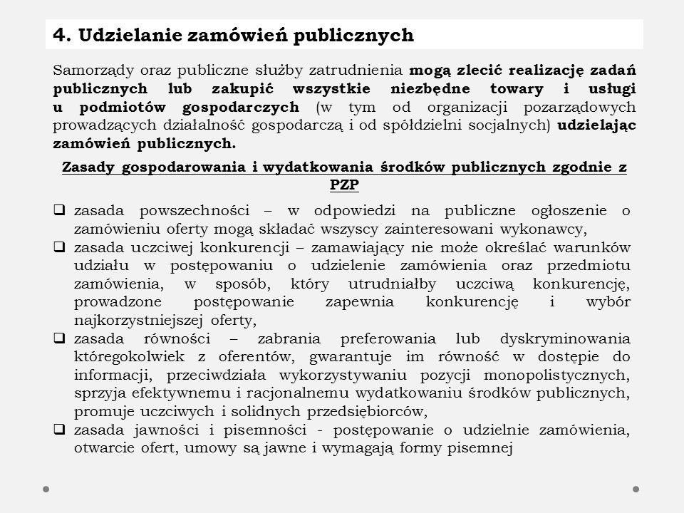 4. Udzielanie zamówień publicznych Samorządy oraz publiczne służby zatrudnienia mogą zlecić realizację zadań publicznych lub zakupić wszystkie niezbęd
