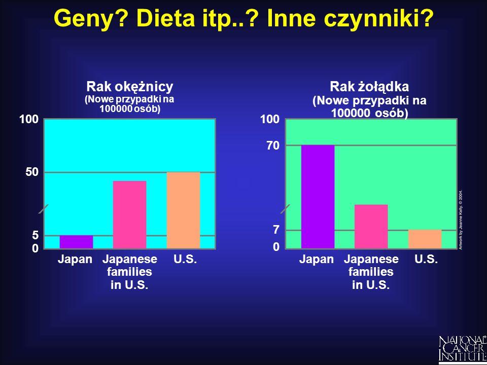Geny? Dieta itp..? Inne czynniki? 100 50 5 0 Rak żołądka (Nowe przypadki na 100000 osób) U.S.JapanJapanese families in U.S. 100 70 7 0 Rak okężnicy (N