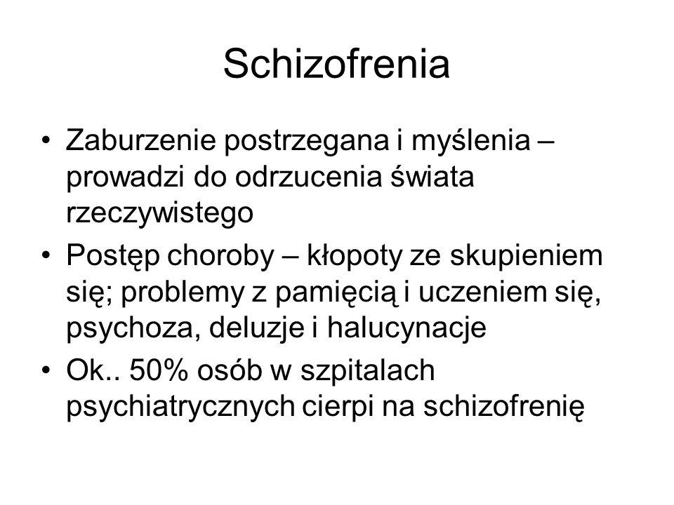 Schizofrenia Zaburzenie postrzegana i myślenia – prowadzi do odrzucenia świata rzeczywistego Postęp choroby – kłopoty ze skupieniem się; problemy z pa