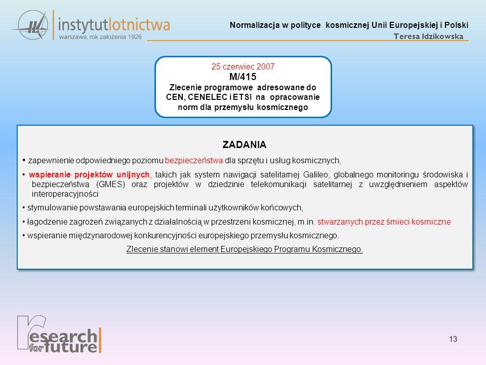 Normalizacja w polityce kosmicznej Unii Europejskiej i Polski Teresa Idzikowska ZADANIA zapewnienie odpowiedniego poziomu bezpieczeństwa dla sprzętu i
