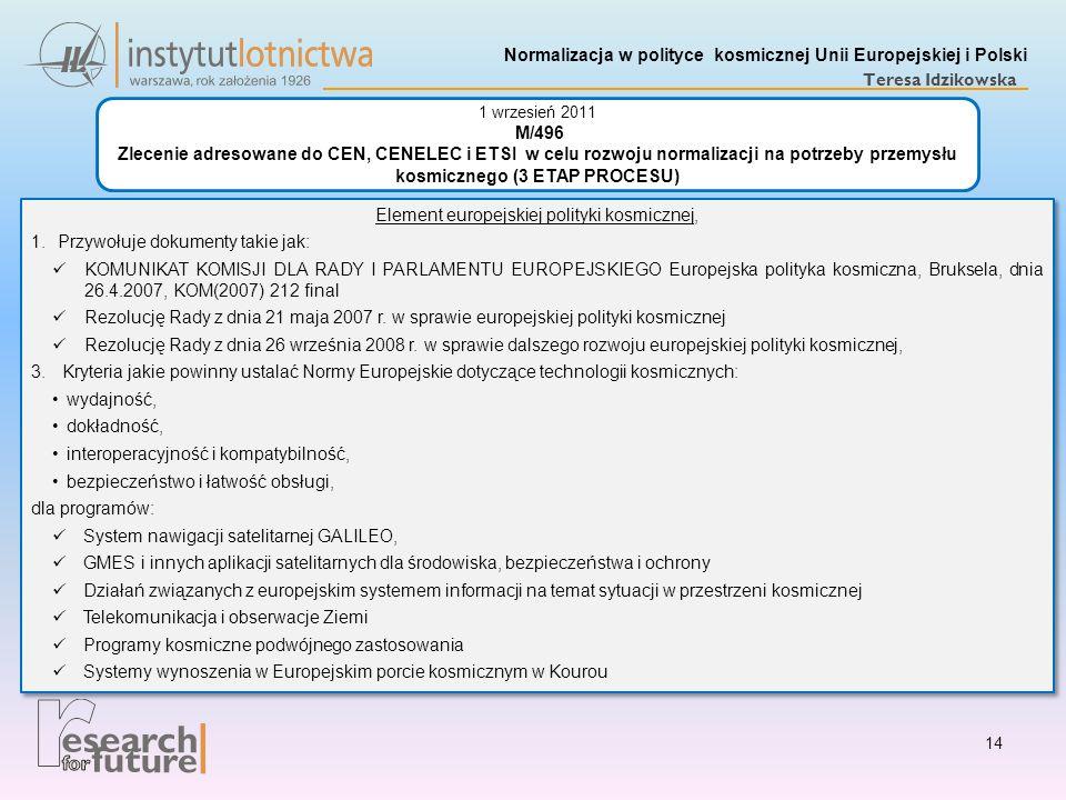 Normalizacja w polityce kosmicznej Unii Europejskiej i Polski Teresa Idzikowska Element europejskiej polityki kosmicznej, 1.Przywołuje dokumenty takie