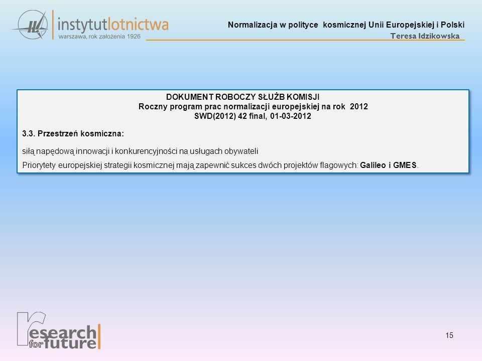 Normalizacja w polityce kosmicznej Unii Europejskiej i Polski Teresa Idzikowska 15 DOKUMENT ROBOCZY SŁUŻB KOMISJI Roczny program prac normalizacji eur