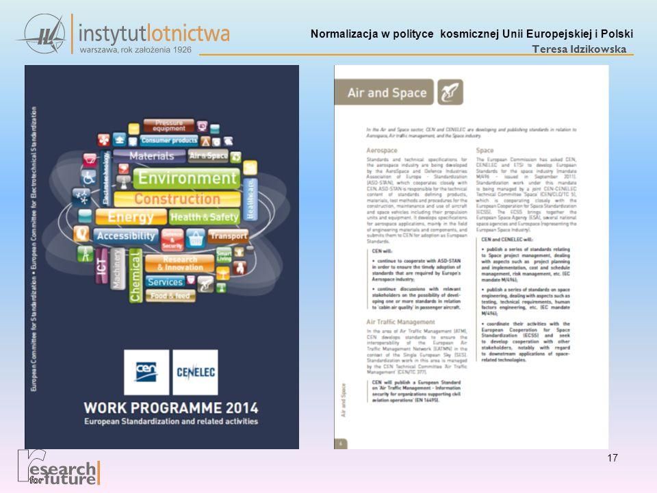 Normalizacja w polityce kosmicznej Unii Europejskiej i Polski Teresa Idzikowska 17