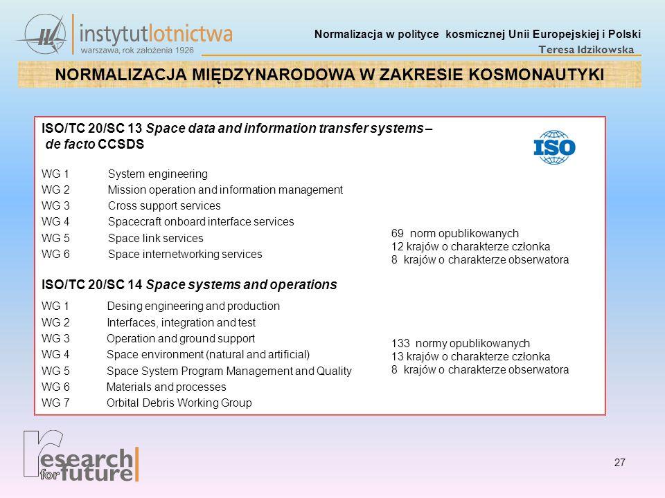 Normalizacja w polityce kosmicznej Unii Europejskiej i Polski Teresa Idzikowska ISO/TC 20/SC 13 Space data and information transfer systems – de facto