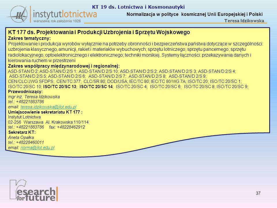 Normalizacja w polityce kosmicznej Unii Europejskiej i Polski Teresa Idzikowska KT 177 ds. Projektowania i Produkcji Uzbrojenia i Sprzętu Wojskowego Z