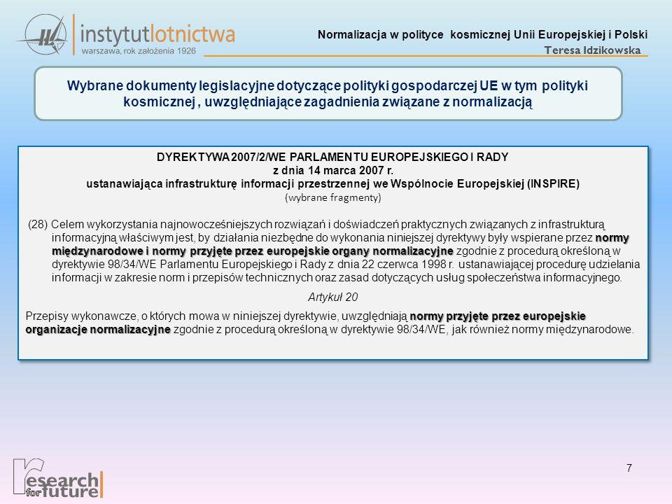 DYREKTYWA 2007/2/WE PARLAMENTU EUROPEJSKIEGO I RADY z dnia 14 marca 2007 r. ustanawiająca infrastrukturę informacji przestrzennej we Wspólnocie Europe