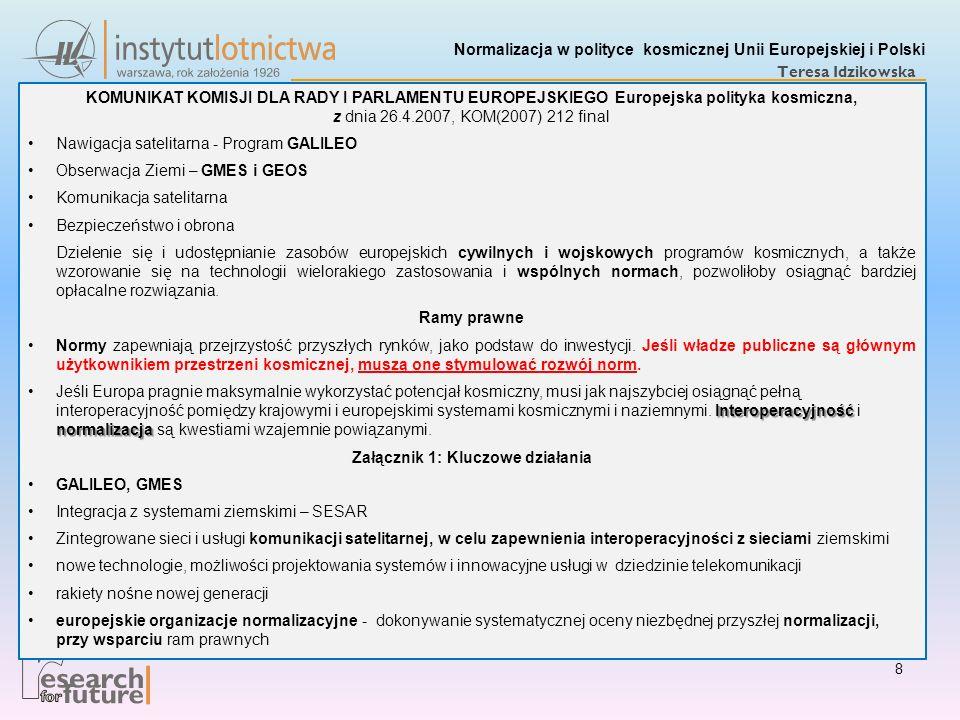 Normalizacja w polityce kosmicznej Unii Europejskiej i Polski Teresa Idzikowska KOMUNIKAT KOMISJI DLA RADY I PARLAMENTU EUROPEJSKIEGO Europejska polit