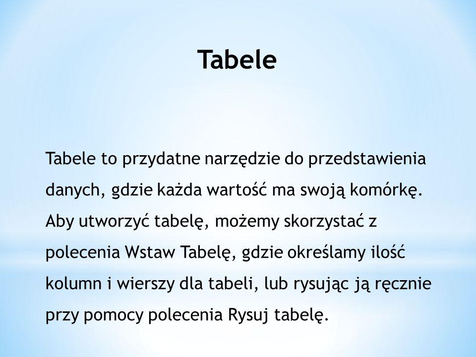 Tabele Tabele to przydatne narzędzie do przedstawienia danych, gdzie każda wartość ma swoją komórkę.