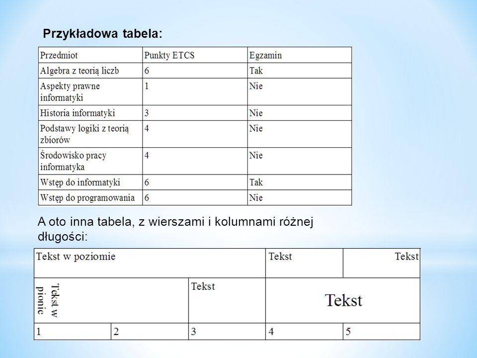 Autoformatowanie Możemy zmienić wygląd tabeli korzystając z narzędzia Autoformatowania.