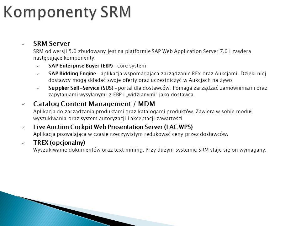 SRM Server SRM od wersji 5.0 zbudowany jest na platformie SAP Web Application Server 7.0 i zawiera następujące komponenty: SAP Enterprise Buyer (EBP) – core system SAP Bidding Engine – aplikacja wspomagająca zarządzanie RFx oraz Aukcjami.
