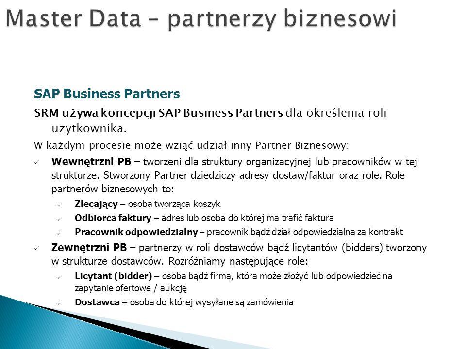 SAP Business Partners SRM używa koncepcji SAP Business Partners dla określenia roli użytkownika.
