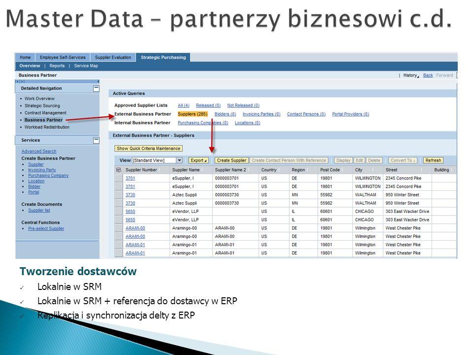 Tworzenie dostawców Lokalnie w SRM Lokalnie w SRM + referencja do dostawcy w ERP Replikacja i synchronizacja delty z ERP