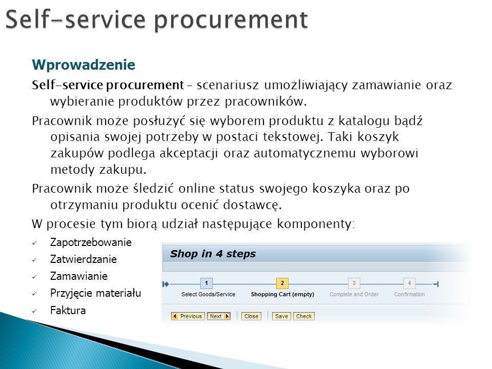 Wprowadzenie Self-service procurement – scenariusz umożliwiający zamawianie oraz wybieranie produktów przez pracowników.