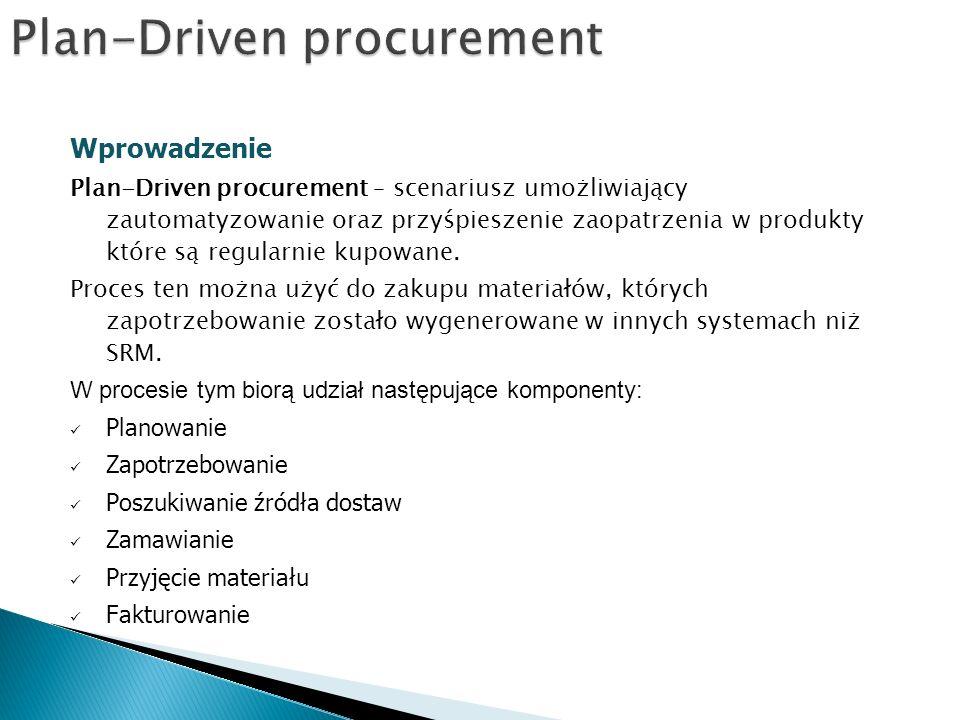 Wprowadzenie Plan-Driven procurement – scenariusz umożliwiający zautomatyzowanie oraz przyśpieszenie zaopatrzenia w produkty które są regularnie kupowane.