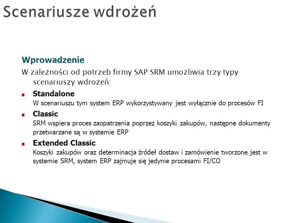 Wprowadzenie W zależności od potrzeb firmy SAP SRM umożliwia trzy typy scenariuszy wdrożeń: Standalone W scenariuszu tym system ERP wykorzystywany jest wyłącznie do procesów FI Classic SRM wspiera proces zaopatrzenia poprzez koszyki zakupów, następne dokumenty przetwarzane są w systemie ERP Extended Classic Koszyki zakupów oraz determinacja źródeł dostaw i zamówienie tworzone jest w systemie SRM, system ERP zajmuje się jedynie procesami FI/CO