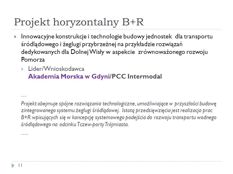 Projekt horyzontalny B+R 11  Innowacyjne konstrukcje i technologie budowy jednostek dla transportu śródlądowego i żeglugi przybrzeżnej na przykładzie