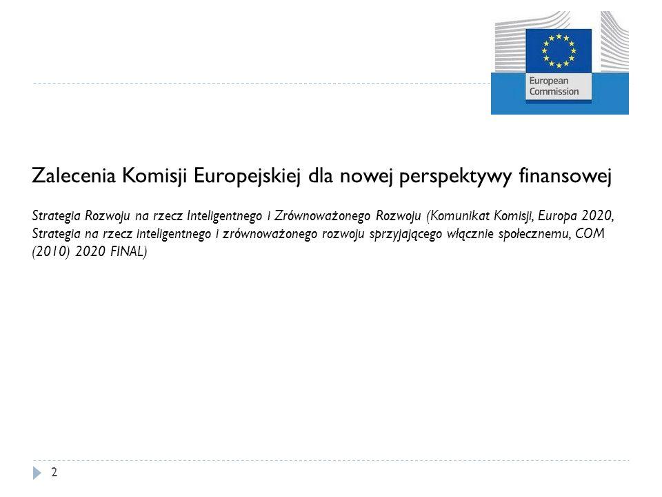 2 Zalecenia Komisji Europejskiej dla nowej perspektywy finansowej Strategia Rozwoju na rzecz Inteligentnego i Zrównoważonego Rozwoju (Komunikat Komisj