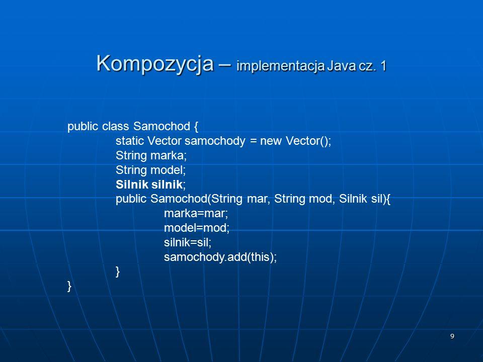 9 Kompozycja – implementacja Java cz. 1 public class Samochod { static Vector samochody = new Vector(); String marka; String model; Silnik silnik; pub