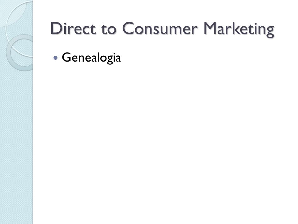 Direct to Consumer Marketing Genealogia