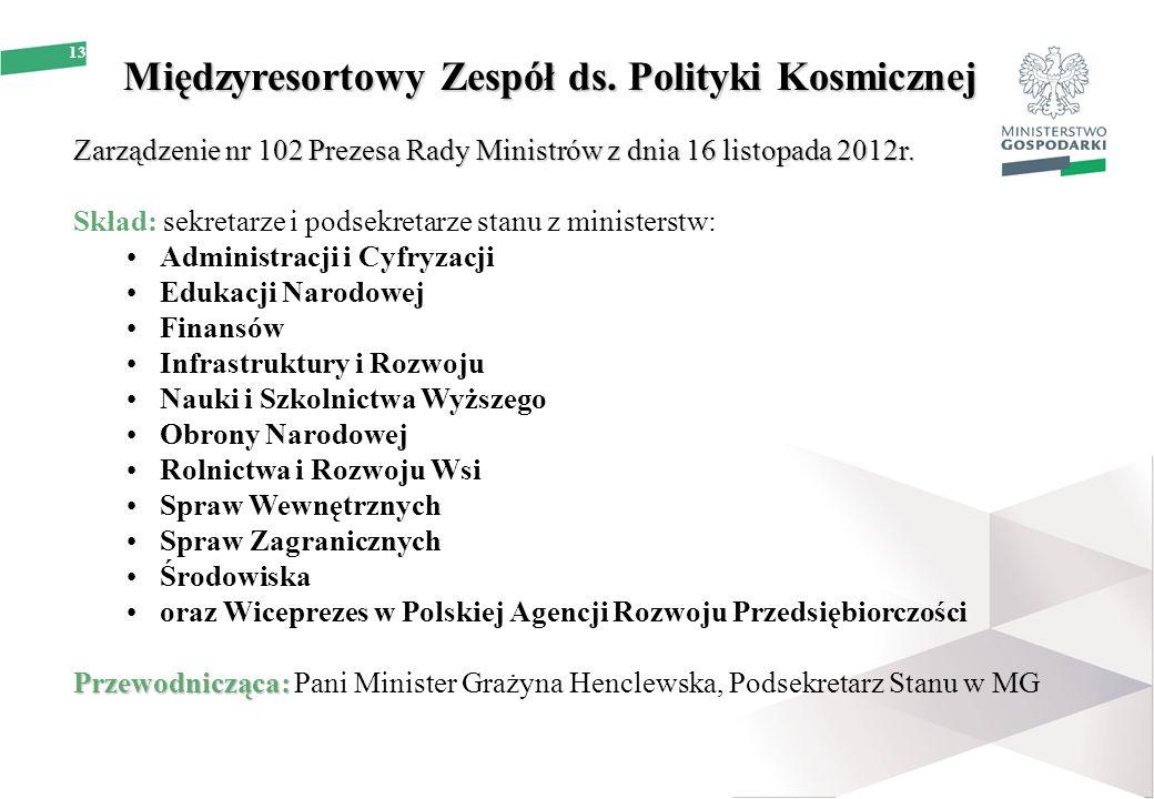 13 Międzyresortowy Zespół ds. Polityki Kosmicznej Zarządzenie nr 102 Prezesa Rady Ministrów z dnia 16 listopada 2012r. Skład: sekretarze i podsekretar