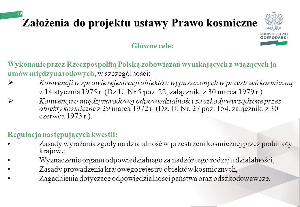 15 Założenia do projektu ustawy Prawo kosmiczne Główne cele: Wykonanie przez Rzeczpospolitą Polską zobowiązań wynikających z wiążących ją umów międzyn