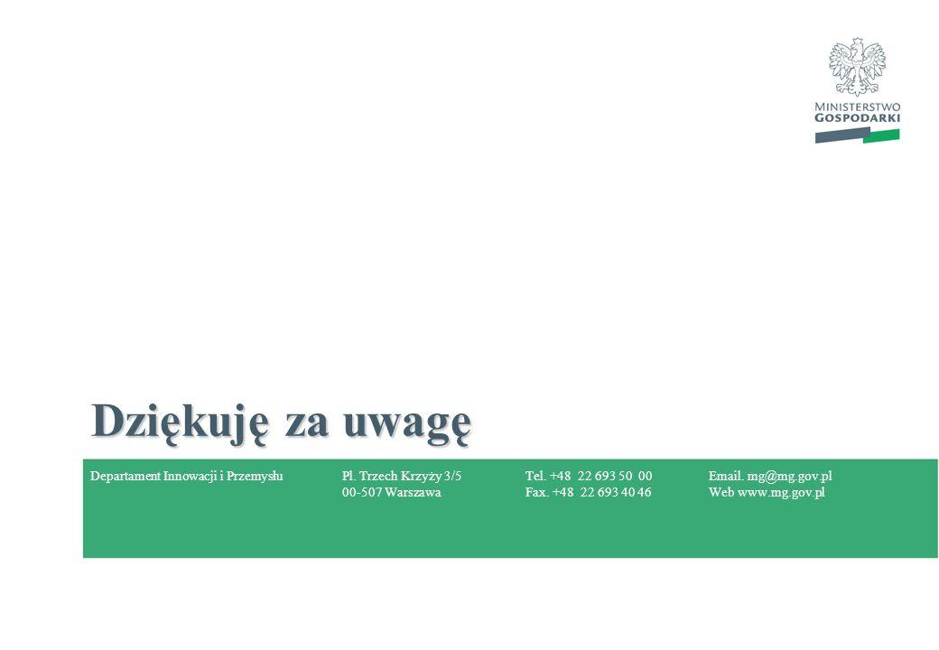 Pl. Trzech Krzyży 3/5 00-507 Warszawa Tel. +48 22 693 50 00 Fax. +48 22 693 40 46 Email. mg@mg.gov.pl Web www.mg.gov.pl Dziękuję za uwagę Departament
