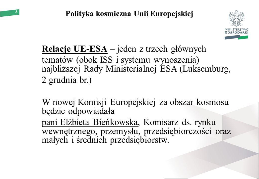 3 Polityka kosmiczna Unii Europejskiej Relacje UE-ESA – jeden z trzech głównych tematów (obok ISS i systemu wynoszenia) najbliższej Rady Ministerialnej ESA (Luksemburg, 2 grudnia br.) W nowej Komisji Europejskiej za obszar kosmosu będzie odpowiadała pani Elżbieta Bieńkowska, Komisarz ds.