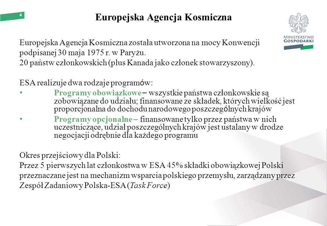 4 Europejska Agencja Kosmiczna Europejska Agencja Kosmiczna została utworzona na mocy Konwencji podpisanej 30 maja 1975 r.