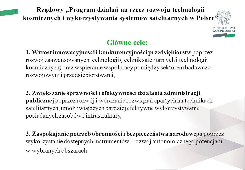 """5 Rządowy """"Program działań na rzecz rozwoju technologii kosmicznych i wykorzystywania systemów satelitarnych w Polsce"""" Główne cele: 1. Wzrost innowacy"""