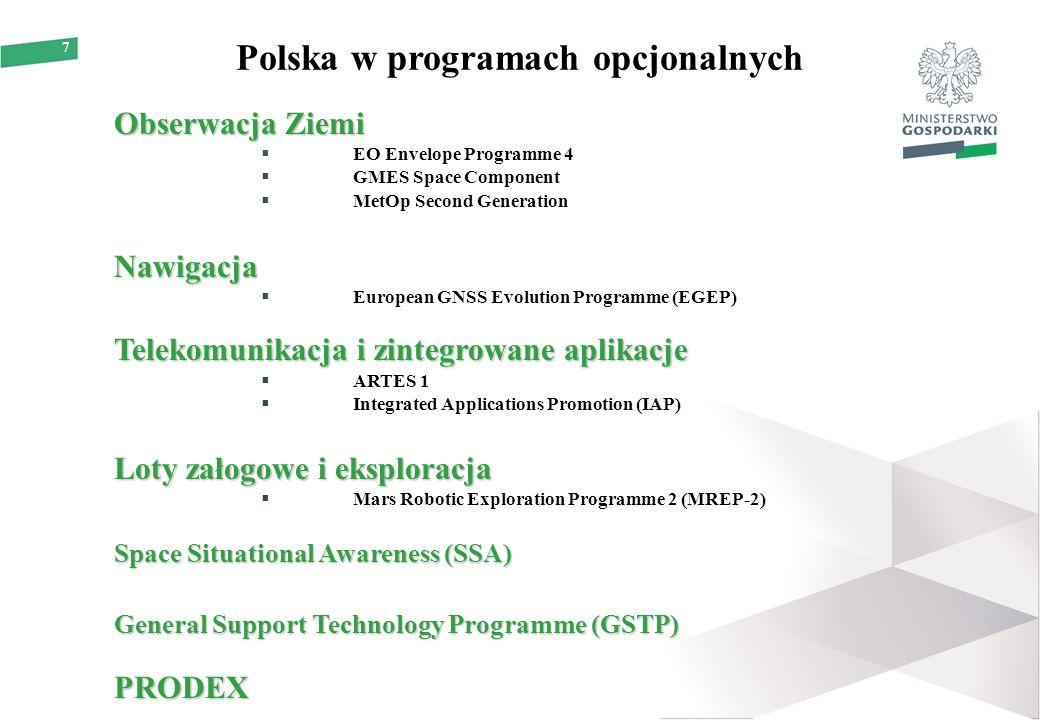 7 Polska w programach opcjonalnych Obserwacja Ziemi  EO Envelope Programme 4  GMES Space Component  MetOp Second GenerationNawigacja  European GNS