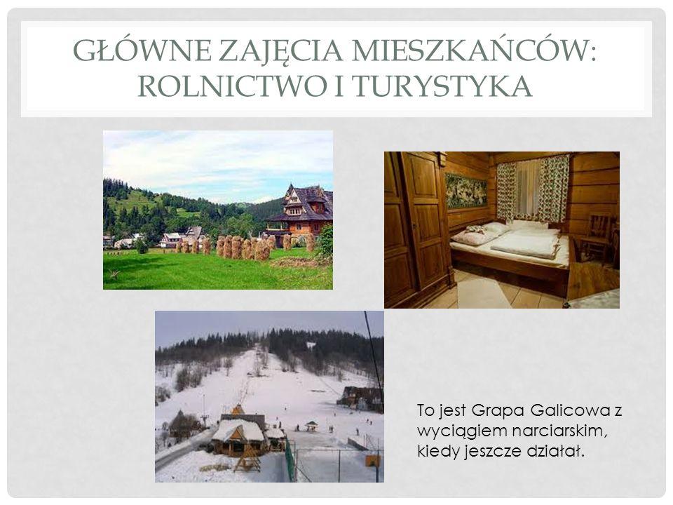 GŁÓWNE ZAJĘCIA MIESZKAŃCÓW: ROLNICTWO I TURYSTYKA To jest Grapa Galicowa z wyciągiem narciarskim, kiedy jeszcze działał.