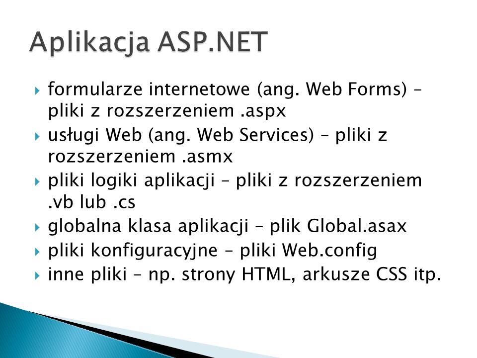  formularze internetowe (ang. Web Forms) – pliki z rozszerzeniem.aspx  usługi Web (ang.