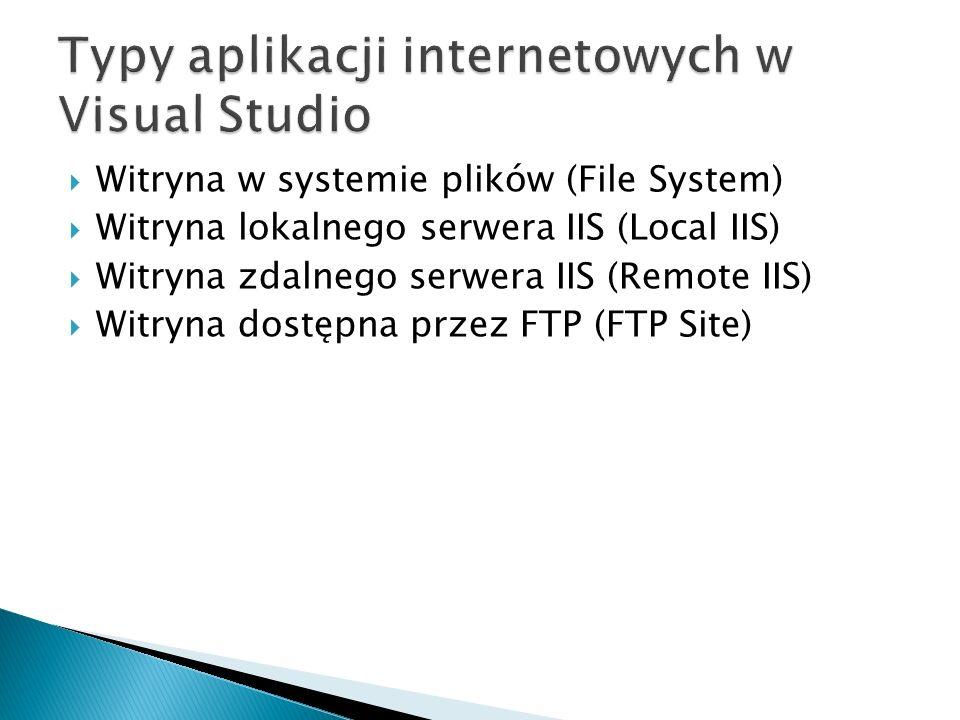  Witryna w systemie plików (File System)  Witryna lokalnego serwera IIS (Local IIS)  Witryna zdalnego serwera IIS (Remote IIS)  Witryna dostępna przez FTP (FTP Site)