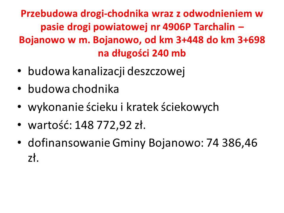 Przebudowa drogi-chodnika wraz z odwodnieniem w pasie drogi powiatowej nr 4906P Tarchalin – Bojanowo w m.