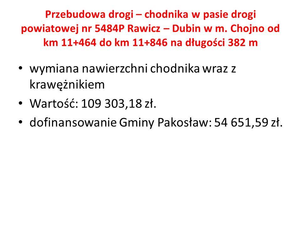 Przebudowa drogi – chodnika w pasie drogi powiatowej nr 5484P Rawicz – Dubin w m.