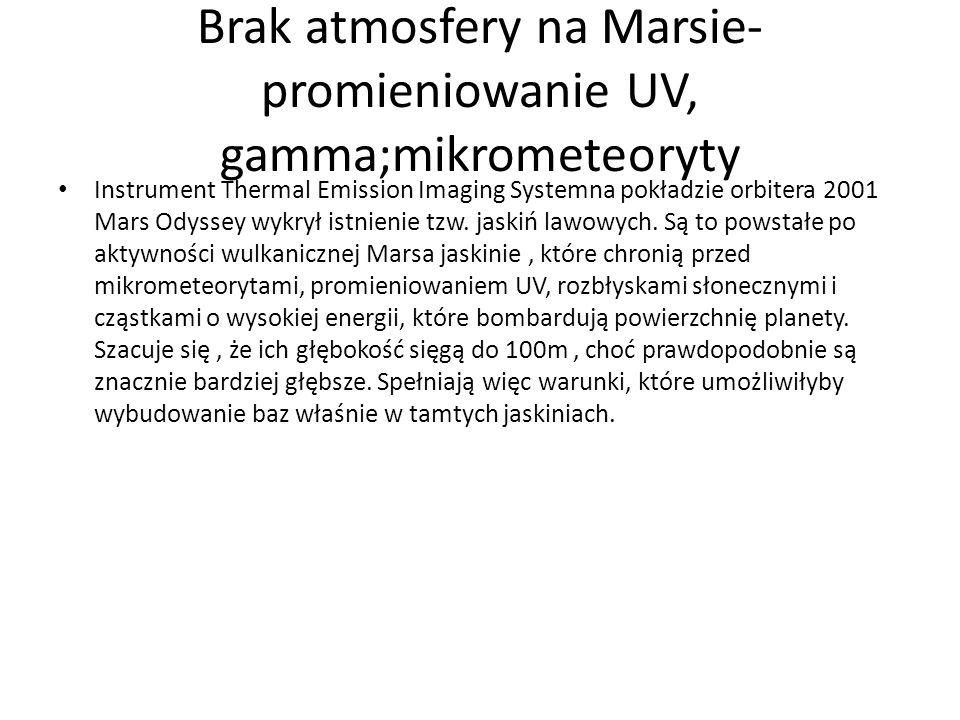 Brak atmosfery na Marsie- promieniowanie UV, gamma;mikrometeoryty Instrument Thermal Emission Imaging Systemna pokładzie orbitera 2001 Mars Odyssey wy