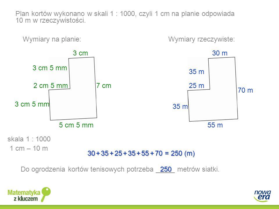 Plan kortów wykonano w skali 1 : 1000, czyli 1 cm na planie odpowiada 10 m w rzeczywistości. Wymiary rzeczywiste: 30 m 35 m 25 m 35 m 55 m 70 m 3 cm 3