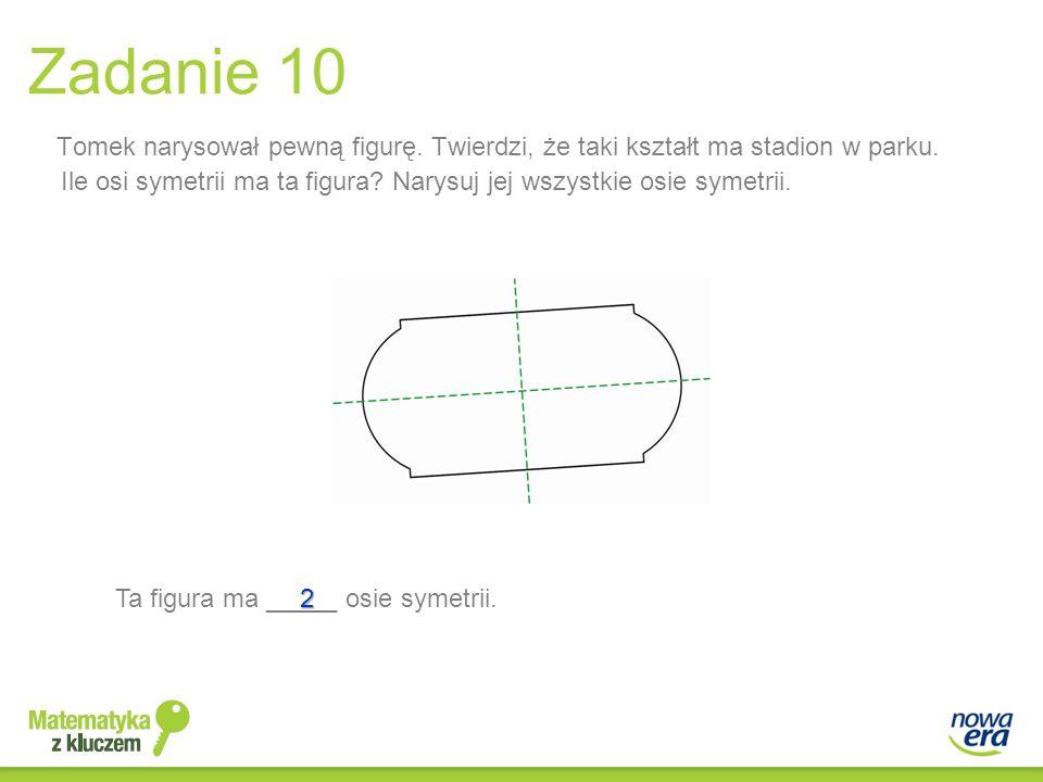 Tomek narysował pewną figurę. Twierdzi, że taki kształt ma stadion w parku. Ile osi symetrii ma ta figura? Narysuj jej wszystkie osie symetrii. Zadani