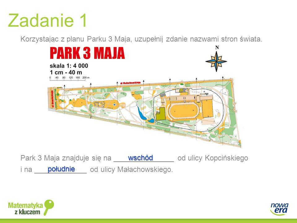 i na _____________ od ulicy Małachowskiego. Park 3 Maja znajduje się na _______________ od ulicy Kopcińskiego wschód południe Korzystając z planu Park