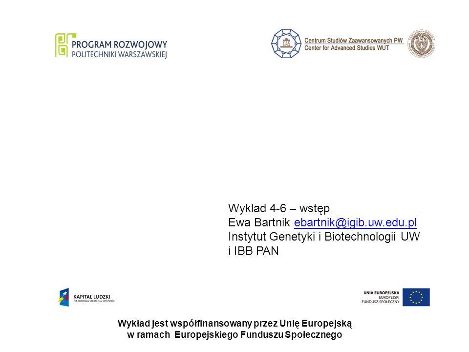 Wykład jest współfinansowany przez Unię Europejską w ramach Europejskiego Funduszu Społecznego Wyklad 4-6 – wstęp Ewa Bartnik ebartnik@igib.uw.edu.plebartnik@igib.uw.edu.pl Instytut Genetyki i Biotechnologii UW i IBB PAN
