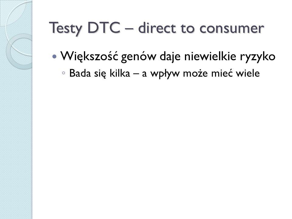Testy DTC – direct to consumer Większość genów daje niewielkie ryzyko ◦ Bada się kilka – a wpływ może mieć wiele