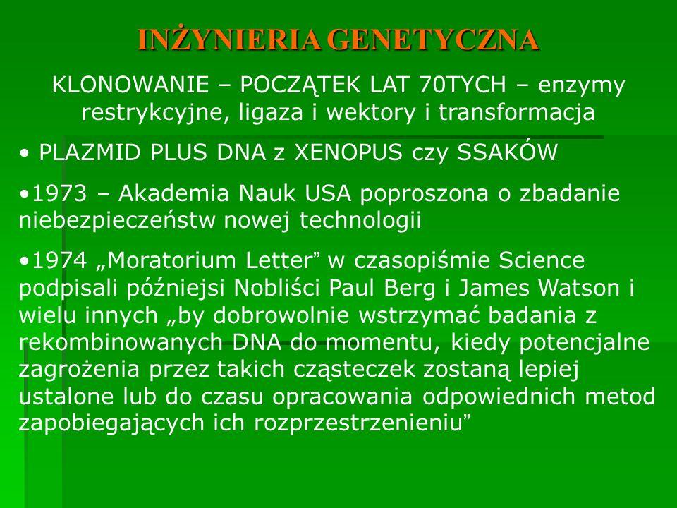 """INŻYNIERIA GENETYCZNA KLONOWANIE – POCZĄTEK LAT 70TYCH – enzymy restrykcyjne, ligaza i wektory i transformacja PLAZMID PLUS DNA z XENOPUS czy SSAKÓW 1973 – Akademia Nauk USA poproszona o zbadanie niebezpieczeństw nowej technologii 1974 """"Moratorium Letter w czasopiśmie Science podpisali późniejsi Nobliści Paul Berg i James Watson i wielu innych """"by dobrowolnie wstrzymać badania z rekombinowanych DNA do momentu, kiedy potencjalne zagrożenia przez takich cząsteczek zostaną lepiej ustalone lub do czasu opracowania odpowiednich metod zapobiegających ich rozprzestrzenieniu"""