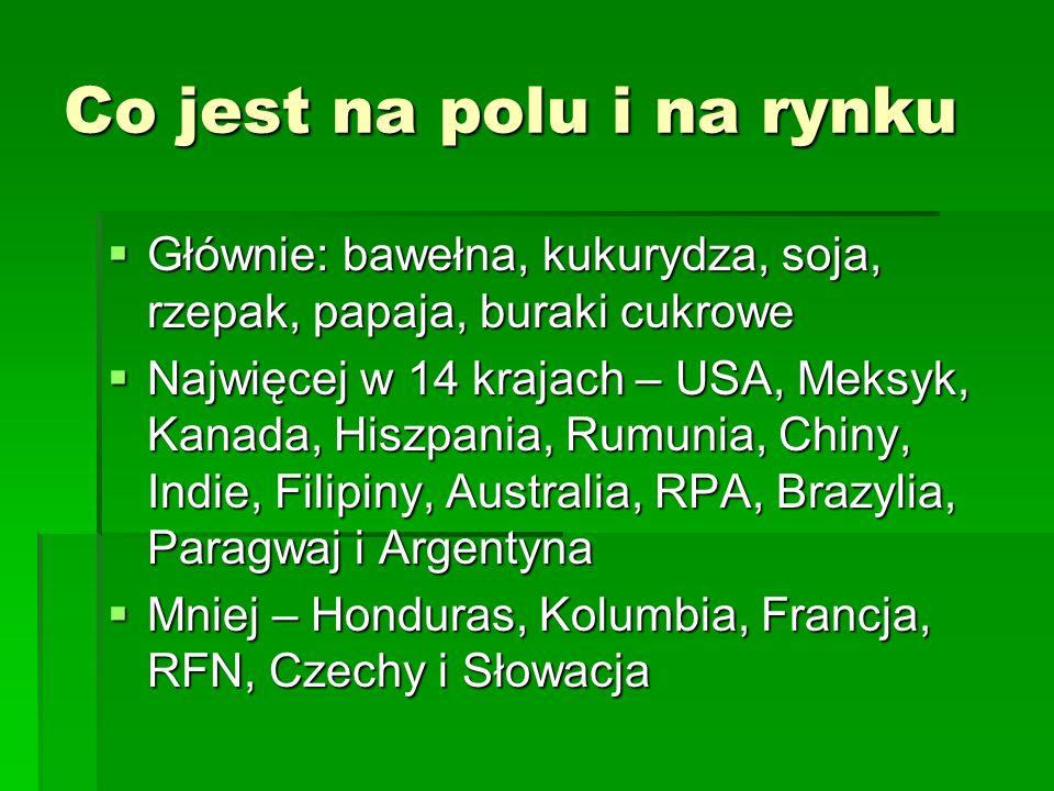 Co jest na polu i na rynku  Głównie: bawełna, kukurydza, soja, rzepak, papaja, buraki cukrowe  Najwięcej w 14 krajach – USA, Meksyk, Kanada, Hiszpania, Rumunia, Chiny, Indie, Filipiny, Australia, RPA, Brazylia, Paragwaj i Argentyna  Mniej – Honduras, Kolumbia, Francja, RFN, Czechy i Słowacja