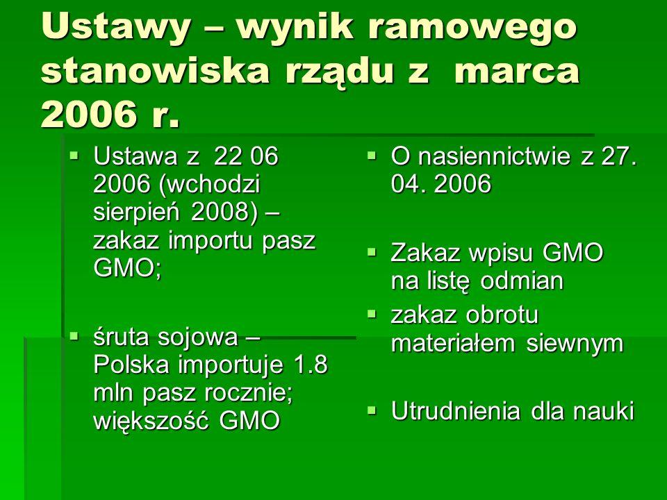 Ustawy – wynik ramowego stanowiska rządu z marca 2006 r.