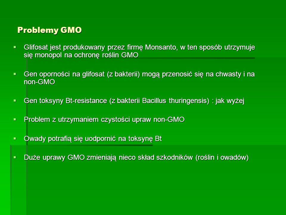 Problemy GMO  Glifosat jest produkowany przez firmę Monsanto, w ten sposób utrzymuje się monopol na ochronę roślin GMO  Gen oporności na glifosat (z bakterii) mogą przenosić się na chwasty i na non-GMO  Gen toksyny Bt-resistance (z bakterii Bacillus thuringensis) : jak wyżej  Problem z utrzymaniem czystości upraw non-GMO  Owady potrafią się uodpornić na toksynę Bt  Duże uprawy GMO zmieniają nieco skład szkodników (roślin i owadów)
