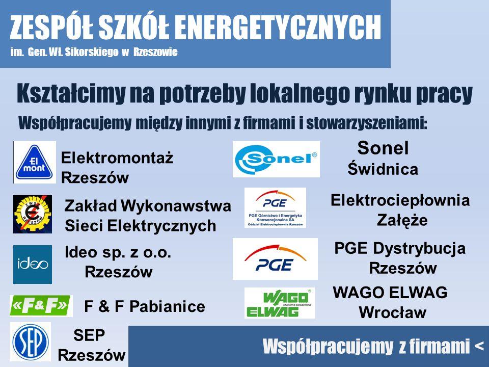 Kształcimy na potrzeby lokalnego rynku pracy Ideo sp. z o.o. Rzeszów Zakład Wykonawstwa Sieci Elektrycznych Elektromontaż Rzeszów Współpracujemy międz